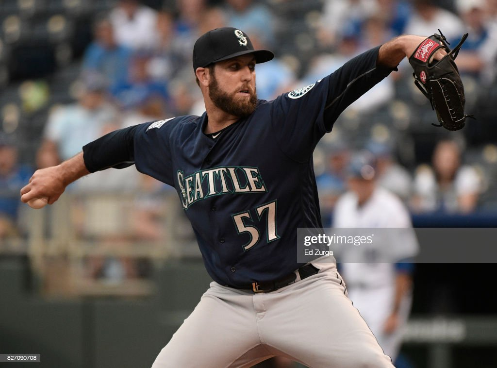 Cody Martin #57 of the Seattle Mariners throws in the eight inning against the Kansas City Royals in game two of a doubleheader at Kauffman Stadium on August 6, 2017 in Kansas City, Missouri.