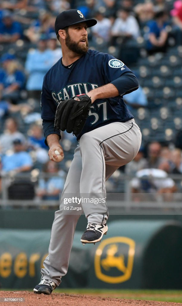 Cody Martin #57 of the Seattle Mariners throws in the seventh inning against the Kansas City Royals in game two of a doubleheader at Kauffman Stadium on August 6, 2017 in Kansas City, Missouri.