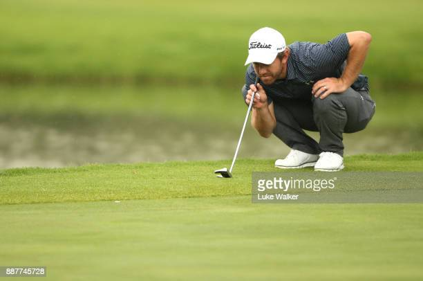 Cody Martin of the United States lines up a putt 17th hole during the first day of the Joburg Open at Randpark Golf Club on December 7 2017 in...