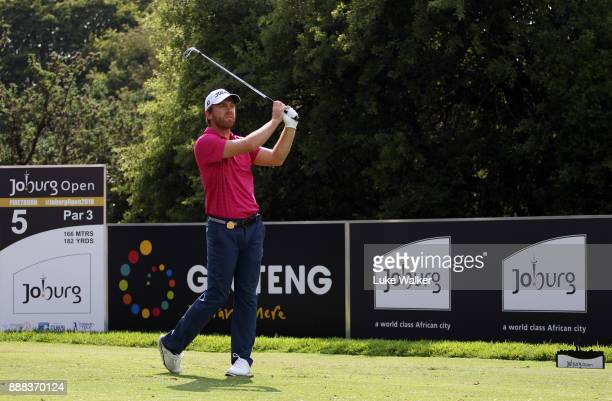 Cody Martin of the United States plays a shot on the 5th hole during the second day of the Joburg Open at Randpark Golf Club on December 8 2017 in...