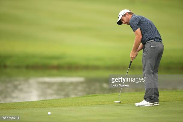 Cody Martin of the United States putts on the 17th hole during the first day of the Joburg Open at Randpark Golf Club on December 7 2017 in...