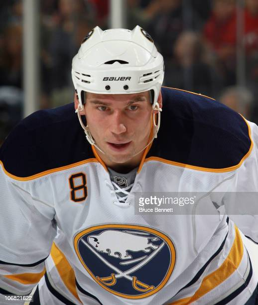 Cody McCormick of the Buffalo Sabres skates against the New Jersey Devils at the Prudential Center on November 10 2010 in Newark New Jersey The...