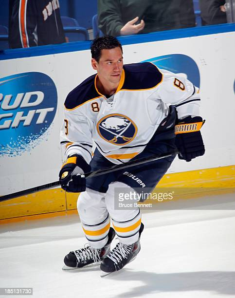 Cody McCormick of the Buffalo Sabres skates against the New York Islanders at the Nassau Veterans Memorial Coliseum on October 15 2013 in Uniondale...