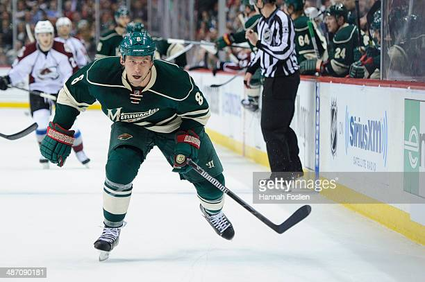 Cody McCormick of the Minnesota Wild skates after the puck against the Colorado Avalanche in Game Three of the First Round of the 2014 NHL Stanley...