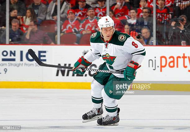 Cody McCormick of the Minnesota Wild skates in the third period against the New Jersey Devils at the Prudential Center on March 20 2014 in Newark New...