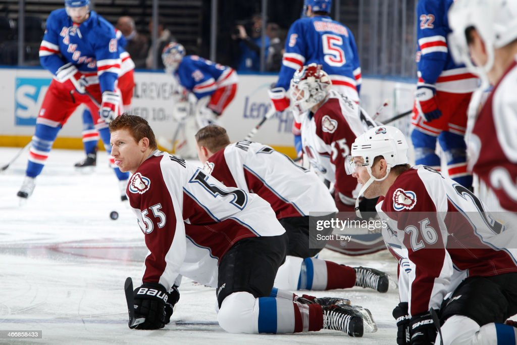 Cody McLeod #55 of the Colorado Avalanche and teammates warm up prior to the game against the New York Rangers at Madison Square Garden on February 4, 2014 in New York City.