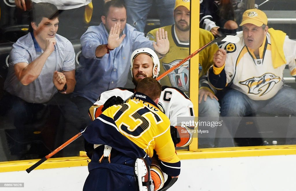 Cody McLeod #55 of the Nashville Predators and Ryan Getzlaf #15 of the Anaheim Ducks tussle during the second period in Game Six of the Western Conference Final during the 2017 Stanley Cup Playoffs at Bridgestone Arena on May 22, 2017 in Nashville, Tennessee.