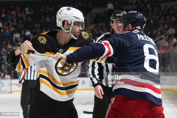 Cody McLeod of the New York Rangers fights Adam McQuaid of the Boston Bruins in the third period at Madison Square Garden on February 7 2018 in New...