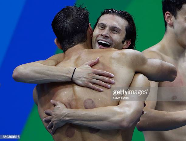 Cody Miller and Michael Phelps of the United States celebrate winning gold in the Men's 4 x 100m Medley Relay Final on Day 8 of the Rio 2016 Olympic...