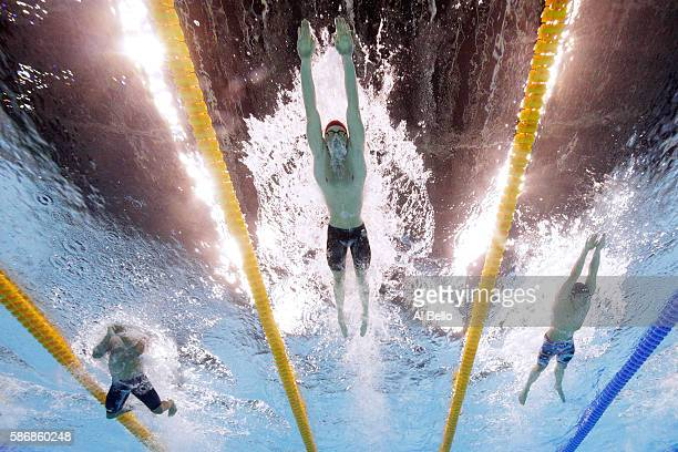 Cody Miller of the United States Adam Peaty of Great Britain and Felipe Silva of Brazil compete in the second Semifinal of the Men's 100m...