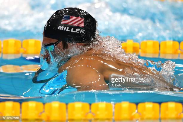 Cody Miller of the United States competes during the Men's 100m Breaststroke Semifinals on day ten of the Budapest 2017 FINA World Championships on...