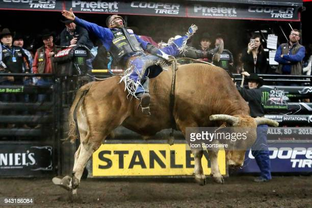 Cody Nance rides bull Beaver Creek Beau during round two of the 25th Professional Bull Riders Unleash The Beast on April 7 at Denny Sanford Premier...