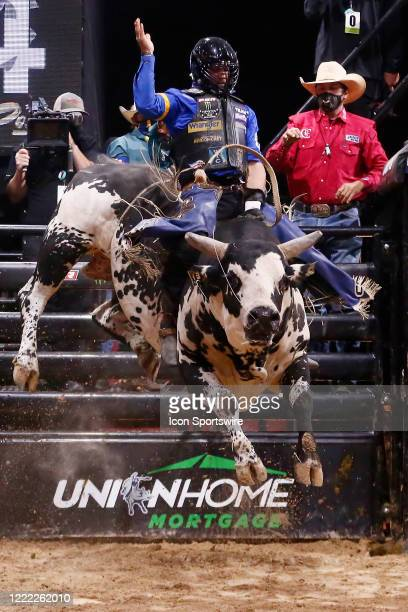Cody Nance rides bull Marquis Metal Works Draggin Up during the Monster Energy Team Challenge on June 19 at the South Point Arena Las Vegas NV