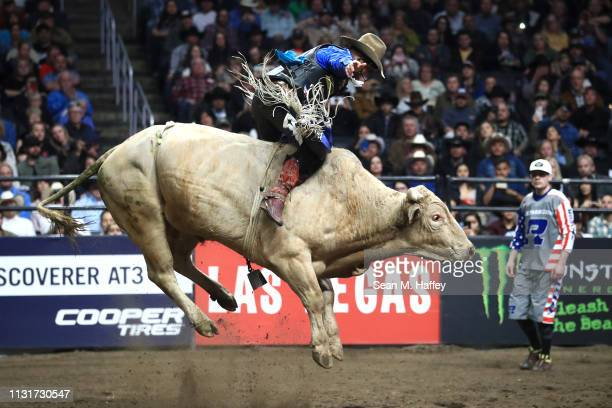 Cody Nance rides Rodeo Houston during the PBR Iron Cowboy at Staples Center on February 23 2019 in Los Angeles California