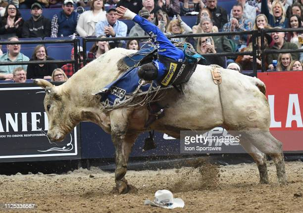 Cody Nance rides the bull Big Show during the Professional Bullrider's Mason Lowe Memorial on February 15 at Enterprise Center St Louis MO