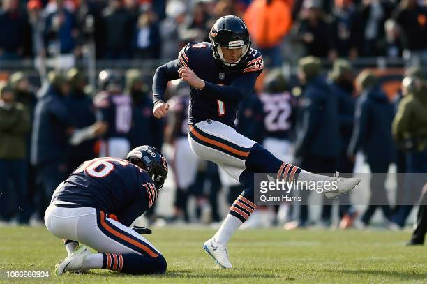 Cody Parkey of the Chicago Bears attempts a field goal against the Detroit Lions at Soldier Field on November 11 2018 in Chicago Illinois