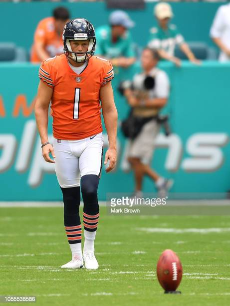 Cody Parkey of the Chicago Bears in action against the Miami Dolphins at Hard Rock Stadium on October 14 2018 in Miami Florida