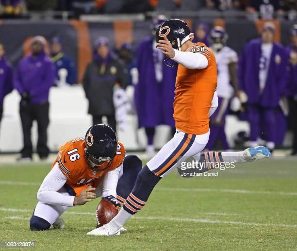 Cody Parkey of the Chicago Bears kicks a 48 yard field goal out of the hold of Pat O'Donnell against the Minnesota Vikings at Soldier Field on...