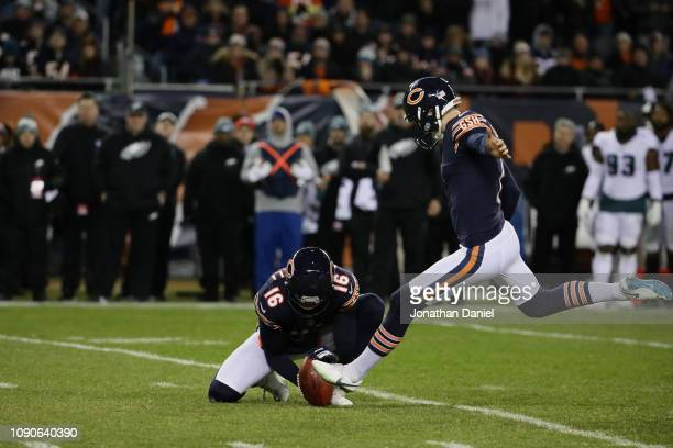 Cody Parkey of the Chicago Bears kicks a field goal against the Philadelphia Eagles in the second quarter of the NFC Wild Card Playoff game at...