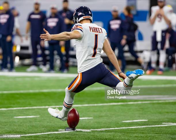 Cody Parkey of the Chicago Bears kicks off the football to start an NFL Thanksgiving Day game against the Detroit Lions at Ford Field on November 22...