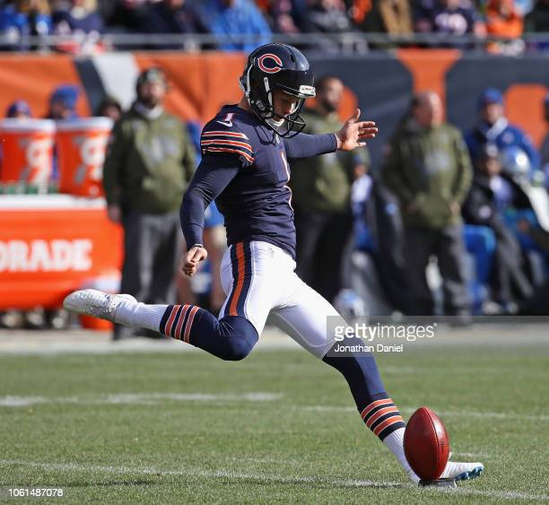 Cody Parkey of the Chicago Bears licks off against the Detroit Lions at Soldier Field on November 11 2018 in Chicago Illinois The Bears defeated the...