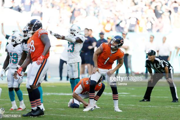Cody Parkey of the Chicago Bears misses a field goal in overtime against the Miami Dolphins at Hard Rock Stadium on October 14 2018 in Miami Florida
