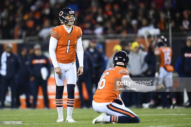 Cody Parkey of the Chicago Bears prepares to kick a field goal during a game against the Minnesota Vikings at Soldier Field on November 18 2018 in...