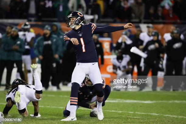 Cody Parkey of the Chicago Bears reacts after missing a field goal attempt in the final moments of their 15 to 16 loss to the Philadelphia Eagles in...
