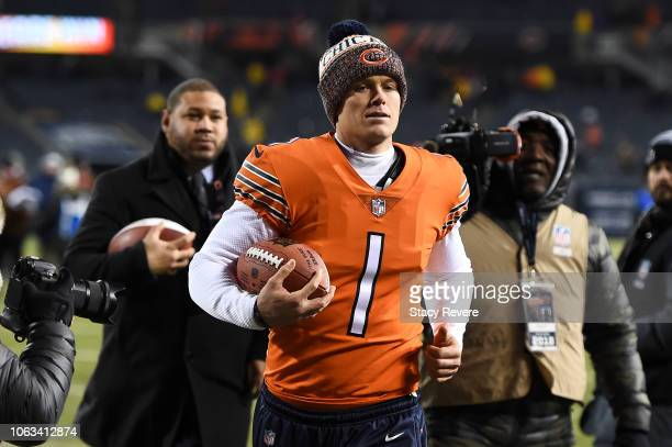Cody Parkey of the Chicago Bears walks off of the field after defeating the Minnesota Vikings 2520 at Soldier Field on November 18 2018 in Chicago...