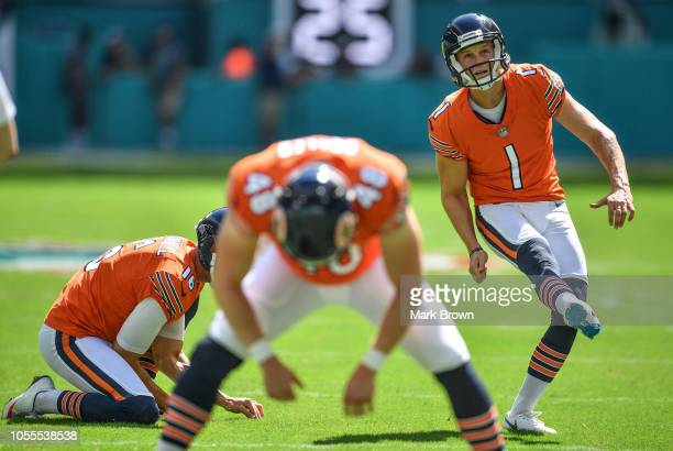 Cody Parkey of the Chicago Bears warming up before the game against the Miami Dolphins at Hard Rock Stadium on October 14 2018 in Miami Florida