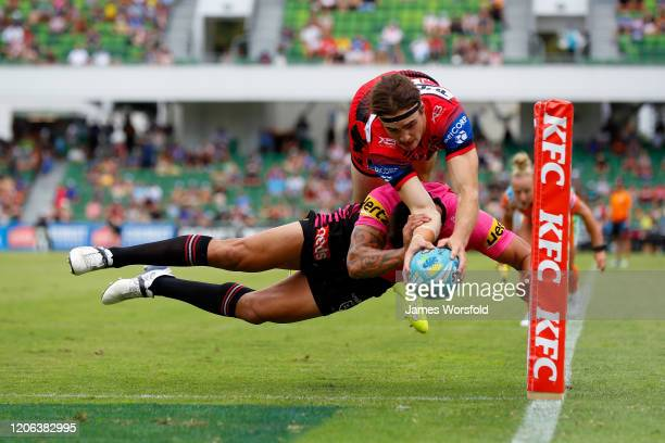 Cody Ramsey of the Dragons dives for the corner to score the game winning try during the quarter final match between the Panthers and Dragons from...