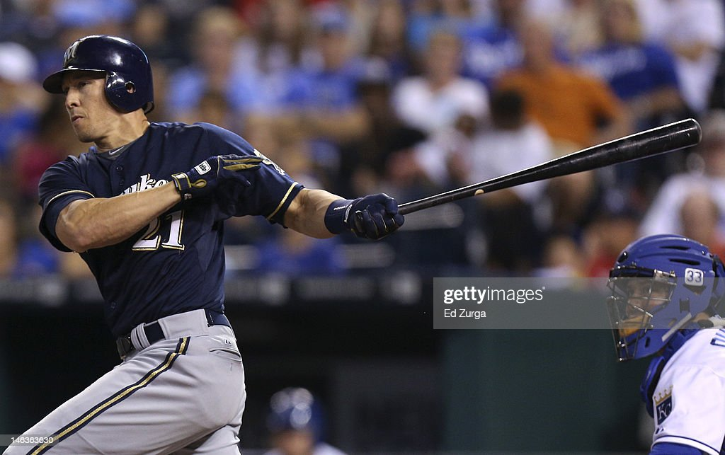 Cody Ransom #21 of the Milwaukee Brewers hits a RBI single during an interleague game against the Kansas City Royals in the eighth inning at Kauffman Stadium on June 14, 2012 in Kansas City, Missouri.