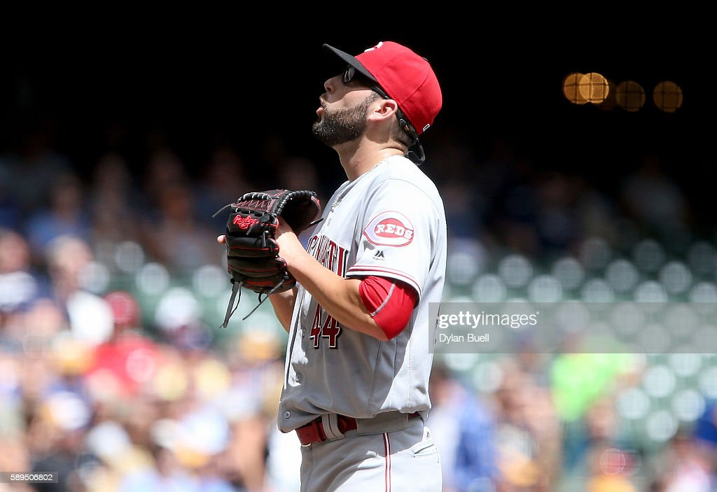Cody Reed #44 of the Cincinnati Reds reacts after hitting a batter in the first inning against the Milwaukee Brewers at Miller Park on August 14, 2016 in Milwaukee, Wisconsin.