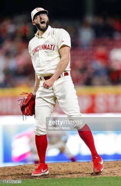 Cody Reed of the Cincinnati Reds reacts after striking out the final San Francisco Giants batter to win the game at Great American Ball Park on May 4...