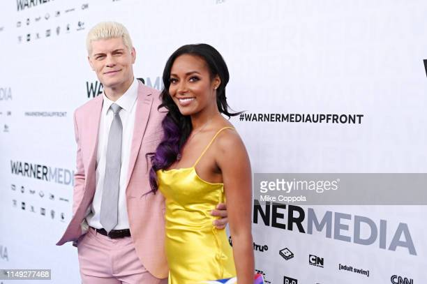 Cody Rhodes and Brandi Rhodes of TNT's All Elite Wrestling attend the WarnerMedia Upfront 2019 arrivals on the red carpet at The Theater at Madison...