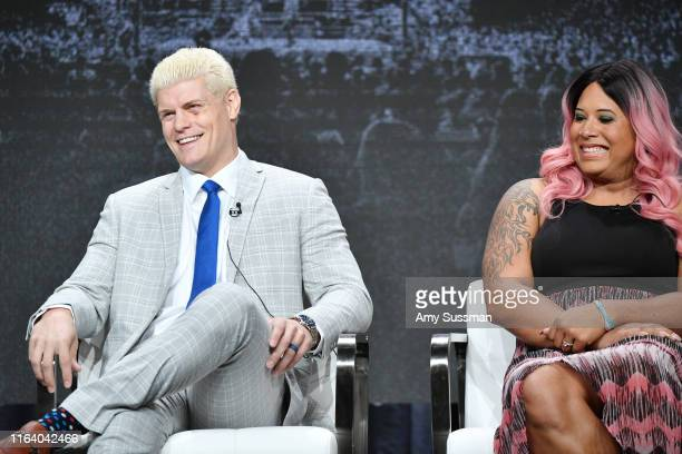Cody Rhodes and Nyla Rose of All Elite Wrestling speak during the TNT TBS segment of the Summer 2019 Television Critics Association Press Tour 2019...