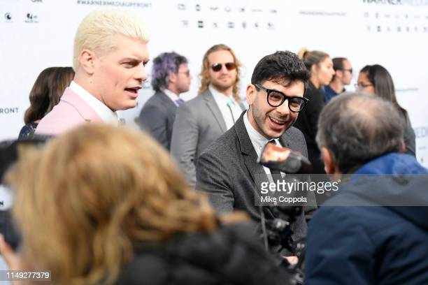 Cody Rhodes and Tony Khan of TNT's All Elite Wrestling attend the WarnerMedia Upfront 2019 arrivals on the red carpet at The Theater at Madison...