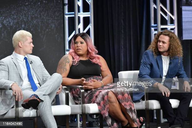 Cody Rhodes Nyla Rose and Jungle Boy of All Elite Wrestling speak during the TNT TBS segment of the Summer 2019 Television Critics Association Press...