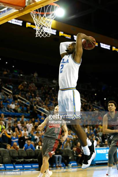 Cody Riley of the UCLA Bruins prepares to dunk during the second half of a game against the Utah Utes at Pauley Pavilion on February 09 2019 in Los...
