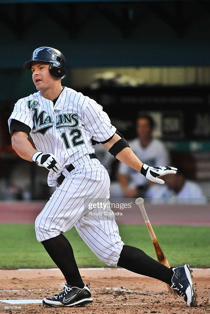 Cody Ross #12 of the Florida Marlins bats during a MLB game against the New York Mets in Sun Life Stadium on May 14, 2010 in Miami, Florida.