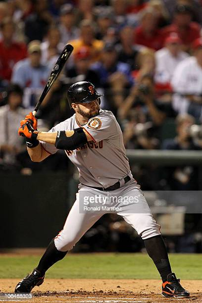 Cody Ross of the San Francisco Giants bats against the Texas Rangers in Game Five of the 2010 MLB World Series at Rangers Ballpark in Arlington on...