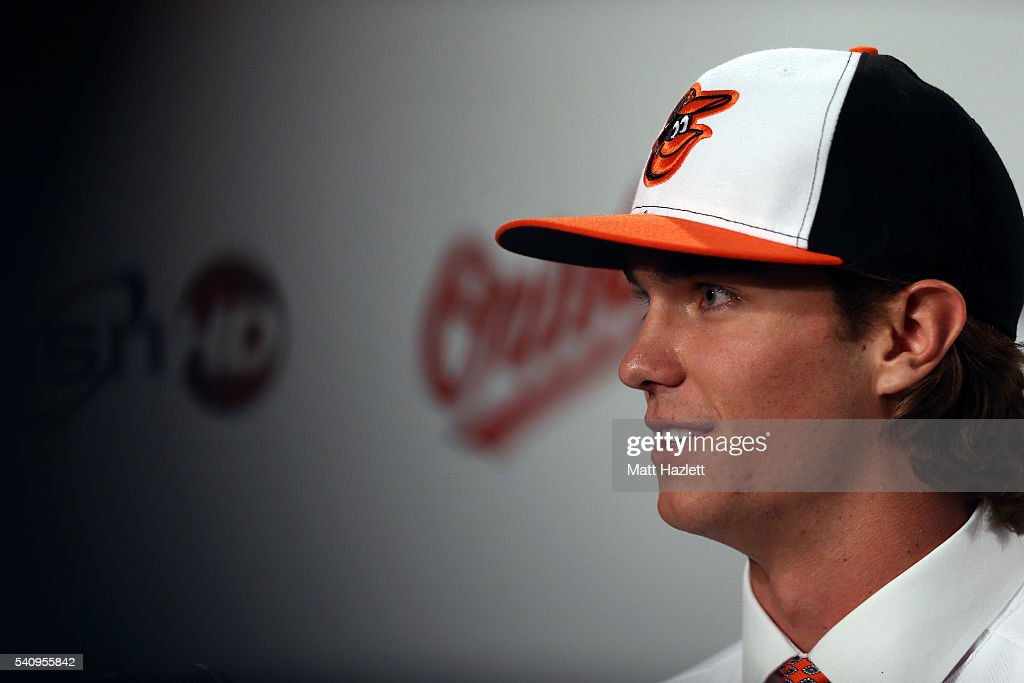 Cody Sedlock, the Baltimore Orioles first round pick in the 2016 First-Year Player Draft addresses the media during a press conference prior to a game against the Toronto Blue Jays at Oriole Park at Camden Yards on June 17, 2016 in Baltimore, Maryland.