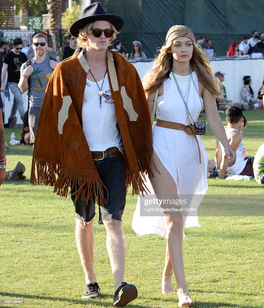 Cody Simpson and Gigi Hadid are seen at Coachella Valley Music and Arts Festival at The Empire Polo Club on April 12, 2015 in Indio, California.
