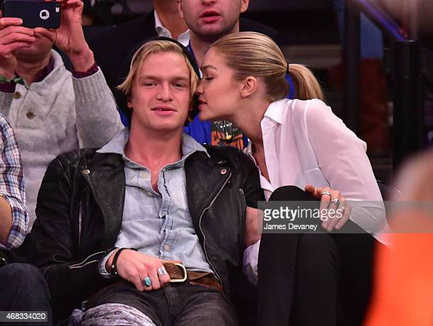 Cody Simpson and Gigi Hadid attend Brooklyn Nets vs New York Knicks game at Madison Square Garden on April 1 2015 in New York City