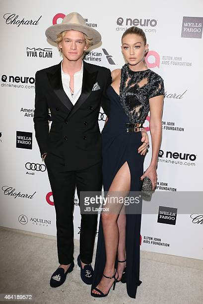 Cody Simpson and Gigi Hadid attend the 23rd Annual Elton John AIDS Foundation Academy Awards Viewing Party on February 22 2015 in West Hollywood...