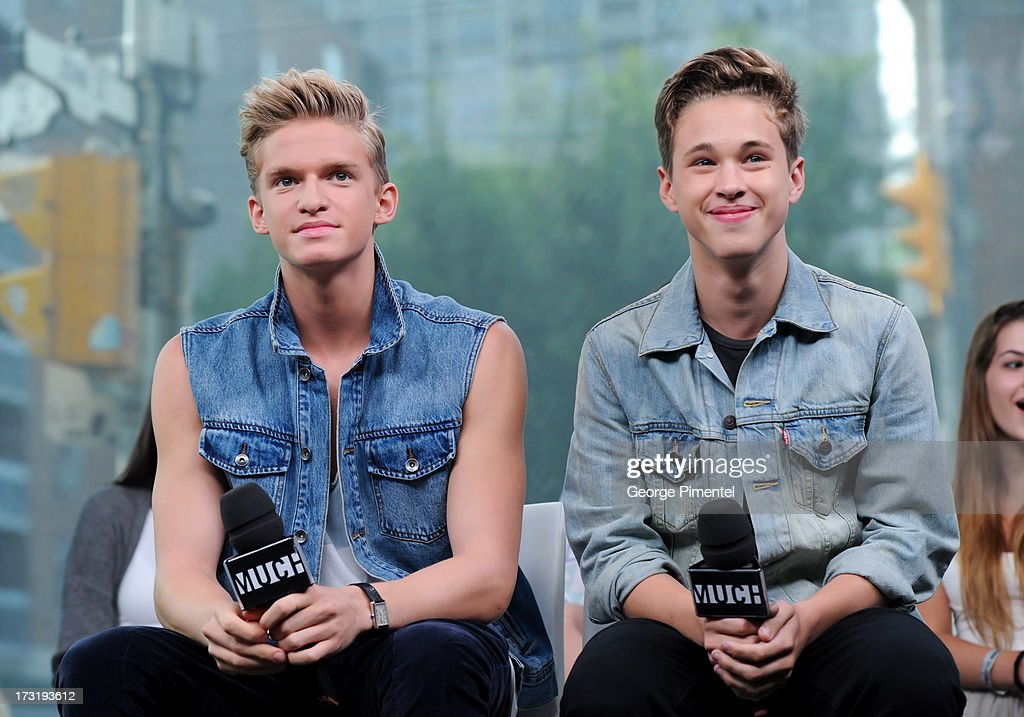 Cody Simpson and Ryan Beatty on NEW.MUSIC.LIVE. at MuchMusic Headquarters on July 9, 2013 in Toronto, Canada.