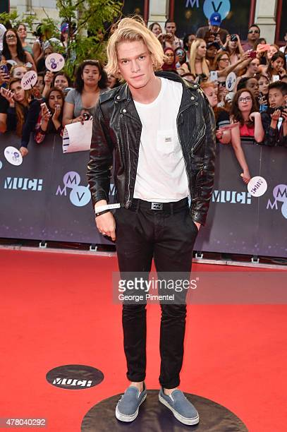 Cody Simpson arrives at the 2015 MuchMusic Video Awards at MuchMusic HQ on June 21 2015 in Toronto Canada
