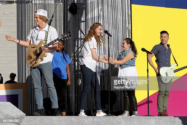 Cody Simpson Bree Bogucki and Madison Tevlin open the 2015 Los Angeles Special Olympics World Games by performing the CocaCola Unified song Reach Up...