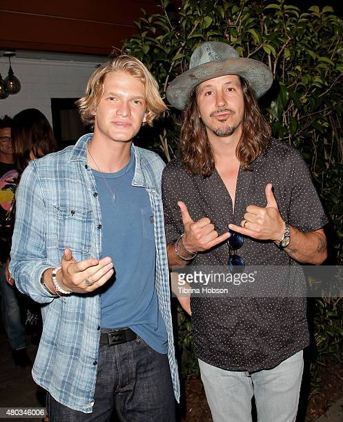 Cody Simpson Cisco Adler attend Simpson's album party for 'Free' at Tropicana Bar at The Hollywood Roosevelt Hotel on July 10 2015 in Hollywood...