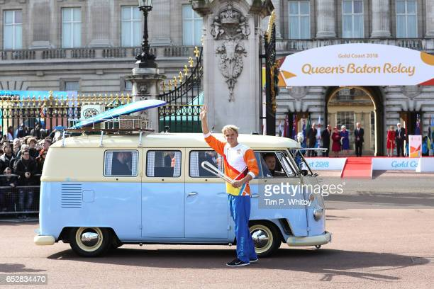 Cody Simpson gets in to a VW Campervan with the baton with Victoria Pendleton and Anna Meares waving him off at the launch of The Queen's Baton Relay...